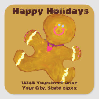 Gingerbread Cookies return address Square Stickers