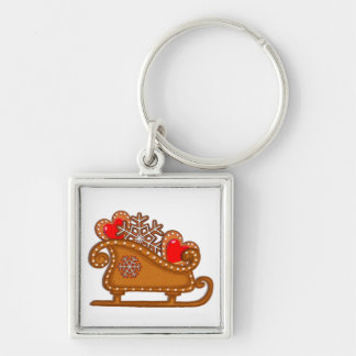 GINGERBREAD COOKIES & SLEIGH by SHARON SHARPE Silver-Colored Square Key Ring