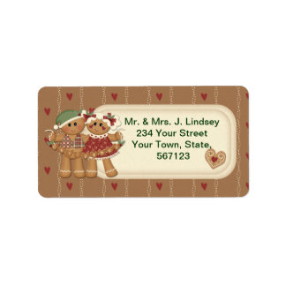 Gingerbread Country Christmas Address Labels