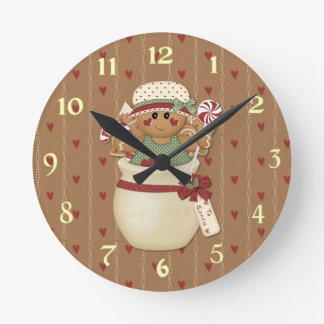 Gingerbread Country Christmas Round Clock