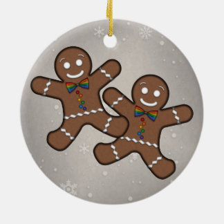 Gingerbread Couple Gay Pride Round Ceramic Decoration