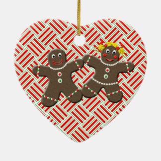 Gingerbread Couple Heart Christmas Tree Ornament