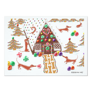 Gingerbread Dachshunds 13 Cm X 18 Cm Invitation Card