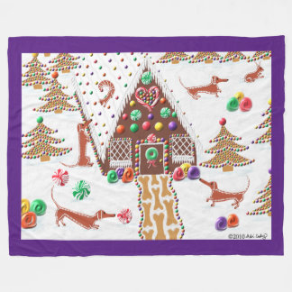 Gingerbread Dachshunds Fleece Blanket