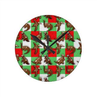 Gingerbread Dinos Round Clock