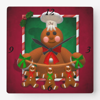 Gingerbread Family: Funny Baker Square Wall Clock