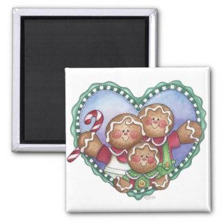 Gingerbread Family Heart Magnet