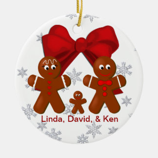 Gingerbread Family of Three Christmas Ornament