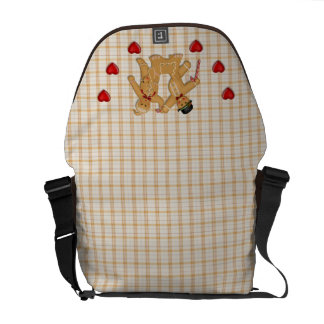 Gingerbread Family - Plaid Only Background Courier Bag
