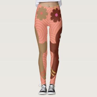 gingerbread floral pink & brown legging