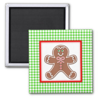 Gingerbread Friends Boy Square Magnet