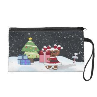 Gingerbread Girl, Christmas Tree, North Pole Sign Wristlet Purses