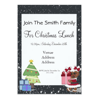 Gingerbread Girl, Christmas Tree, North Pole Sign 5x7 Paper Invitation Card