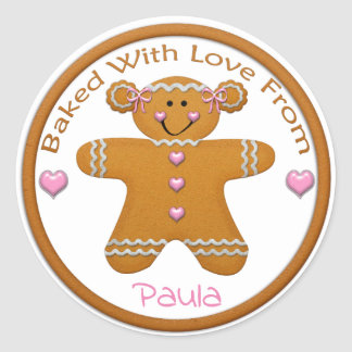 Gingerbread Girl Custom Sticker~From the Kitchen Classic Round Sticker