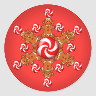 GINGERBREAD GIRL STAR by SHARON SHARPE Classic Round Sticker