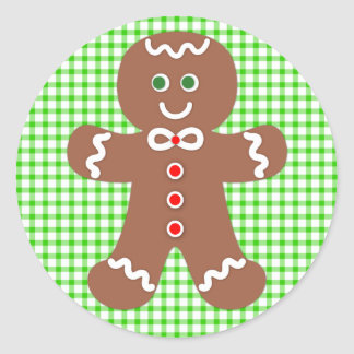 Gingerbread Holiday Boy Round Sticker