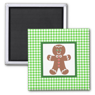 Gingerbread Holiday Boy Square Magnet