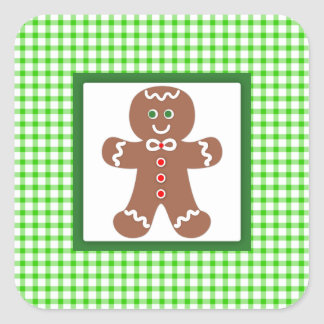 Gingerbread Holiday Boy Square Sticker