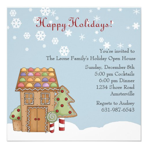 Gingerbread Holiday Open House Invitation