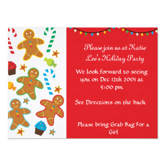 Gingerbread Holiday Party 17 Cm X 22 Cm Invitation Card