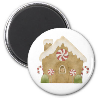 Gingerbread House 6 Cm Round Magnet