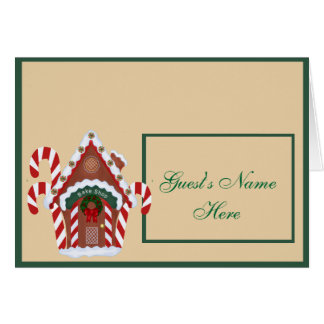 Gingerbread House and Candy Canes Holidy Note Card