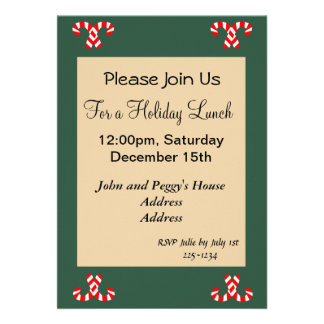 Gingerbread House and Candy Canes Holidy Custom Invitation