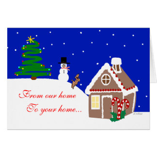 Gingerbread House and Dog in Snow Greeting Card