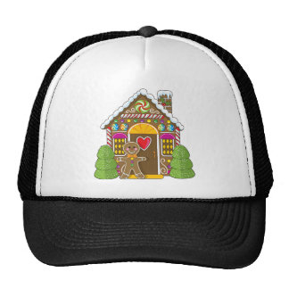 Gingerbread House and Man Trucker Hat