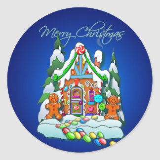 GINGERBREAD HOUSE by SHARON SHARPE Round Sticker
