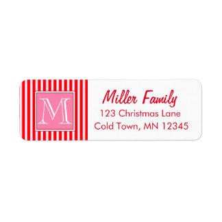 Gingerbread House Candy Cane Stripes Return Address Label
