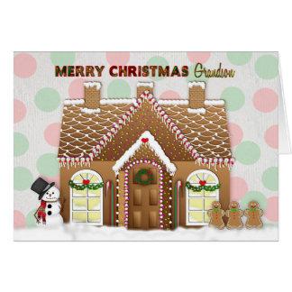 Gingerbread House Christmas - Grandson Card