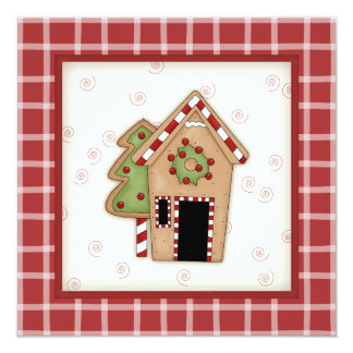 "Gingerbread House Christmas Party Invitations 5.25"" Square Invitation Card"