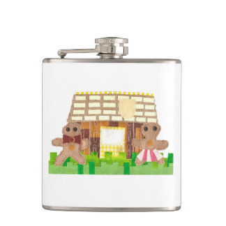 Gingerbread House Couple Flask