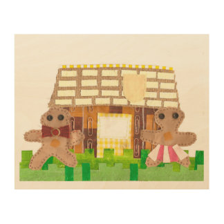 Gingerbread House Couple Wooden Poster Wood Prints