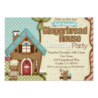 """Gingerbread House Decorating Party Invitation 5"""" X 7"""" Invitation Card"""