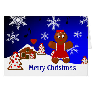 Gingerbread House & Girl Merry Christmas Card