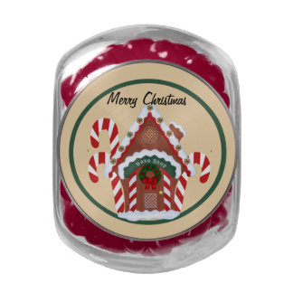 Gingerbread House Glass Candy Jar