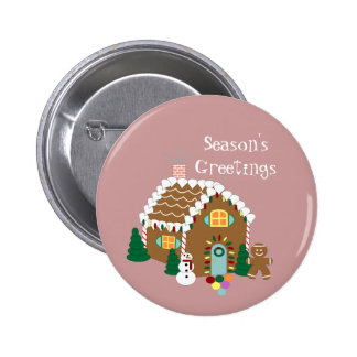 Gingerbread House Holiday Button