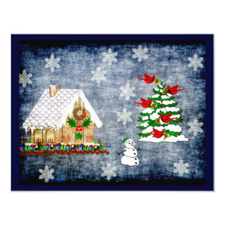 "Gingerbread House In Snow 4.25"" X 5.5"" Invitation Card"