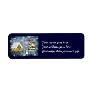 Gingerbread House In Snow Return Address Label