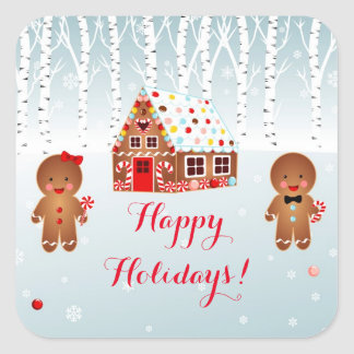 Gingerbread House party  Square Stickers
