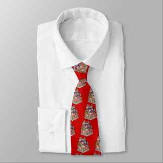 Gingerbread House Pattern Red Tie