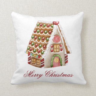 Gingerbread House Personalize Throw Cushions