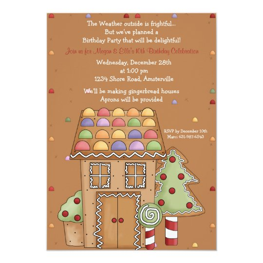 Gingerbread House - Photo Birthday Party Invitatio Card