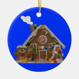 Gingerbread House Photo Ceramic Ornament