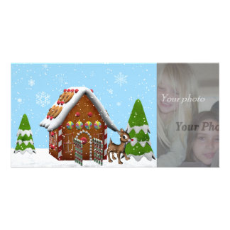 gingerbread house photocard photo card template