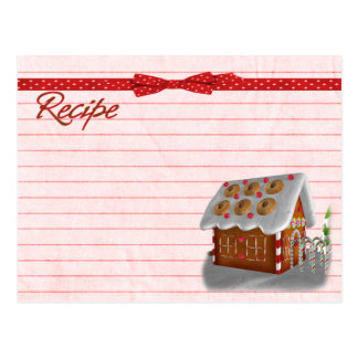 Gingerbread house recipe card postcard