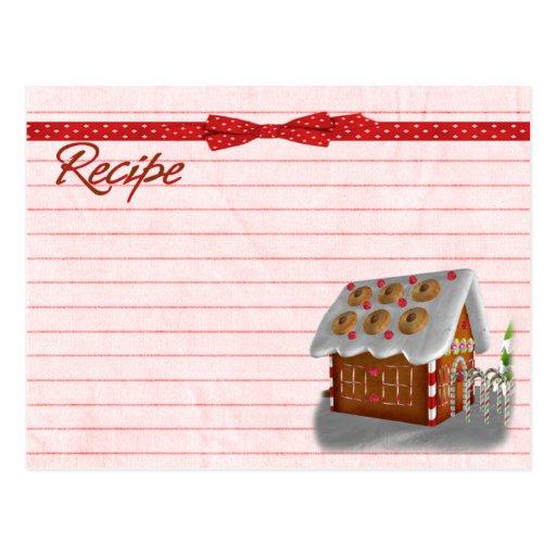 Gingerbread house recipe card postcard