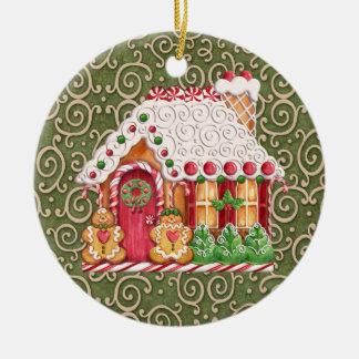 Gingerbread House Round Ceramic Decoration